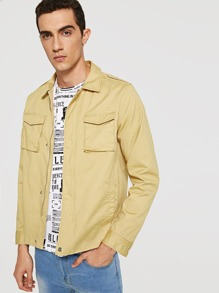Men Zip and Button Up Pocket Front Jacket