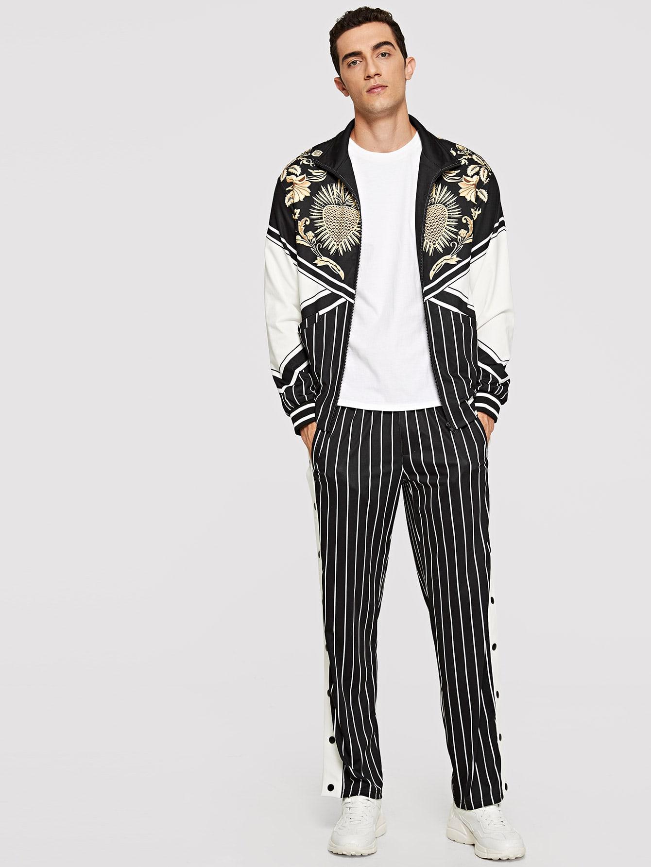Men Zip Up Mixed Print Top & Pants Set Men Zip Up Mixed Print Top & Pants Set