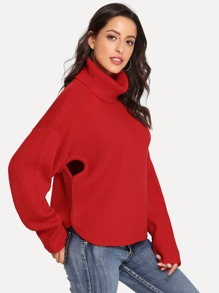 Cut Out Oversized Ribbed Knit Sweater