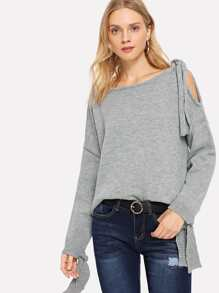 Cut Out Knot Marled Jumper