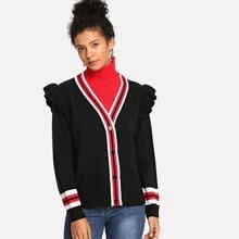 High Neck Ruffle Striped Sweater