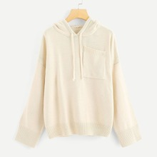 Pocket Patched Drawstring Hoodie Sweater