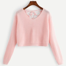 Lace Up Back Solid Crop Sweater