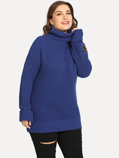 Plus Rolled Neck And Sleeve Solid Sweater