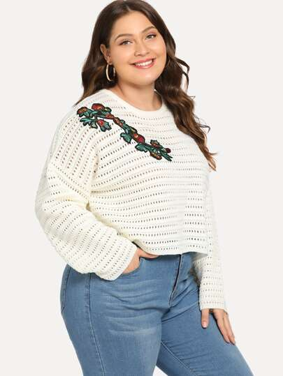 Plus Botanical Applique Eyelet Sweater