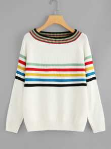 Raglan Sleeve Striped Jumper