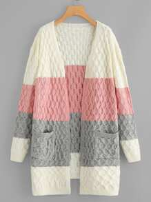 Color-block Pocket Patched Cable Knit Cardigan