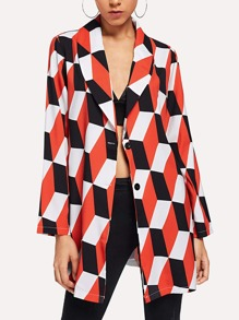 Single Breasted Geometric Print Blazer