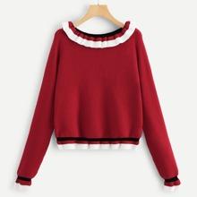 Raglan Sleeve Frilled Trim Sweater