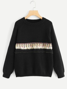 Beaded And Embroidery Front Sweater