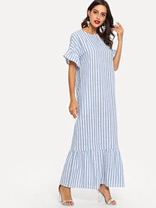 Ruffle Hem Bell Sleeve Striped Dress