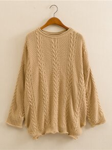 Rolled Edge Knit Drop Shoulder Solid Sweaters