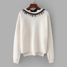 Tassel Detail Tie Back High Low Sweater