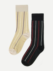 Striped Calf Length Socks 2pairs
