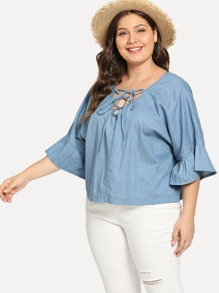 Plus Ruffle Sleeve Lace Up Denim Top