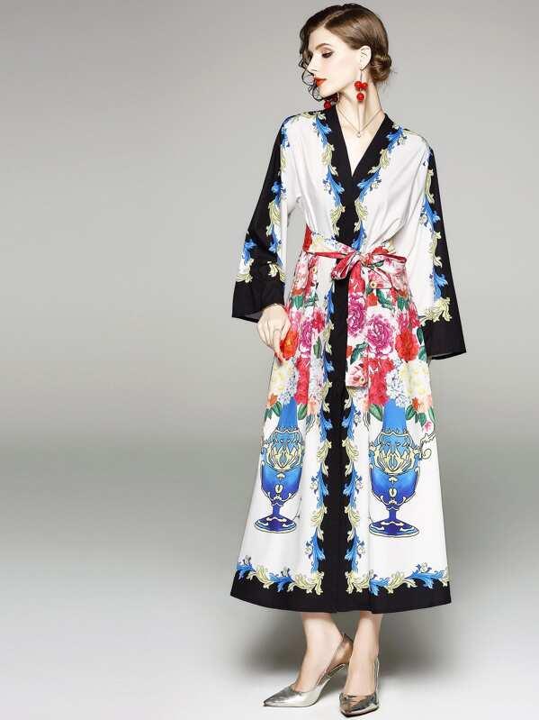 d1d9af27e فستان مخصر طويل مع أشرطة طويلة مخصر بالأزهار   شي إن
