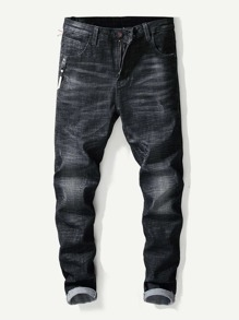 Men Patched Detail Solid Jeans