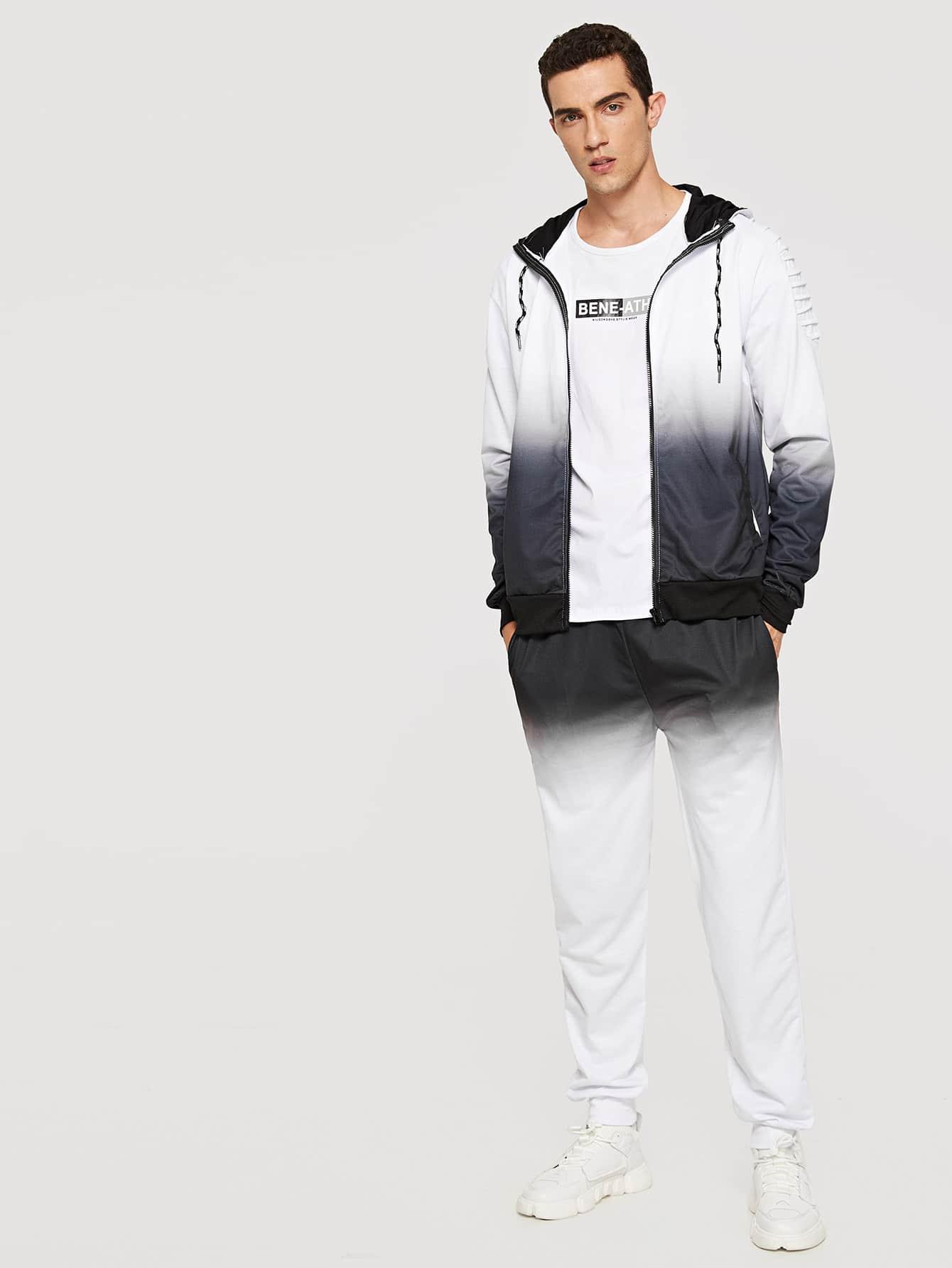Men Contrast Ombre Hooded Top With Pants Men Contrast Ombre Hooded Top With Pants