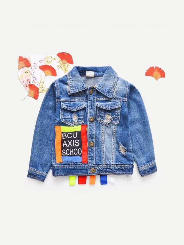 2763498c0f5 Cheap Toddler Boys Ribbon Letter Print Denim Jacket for sale Australia    SHEIN