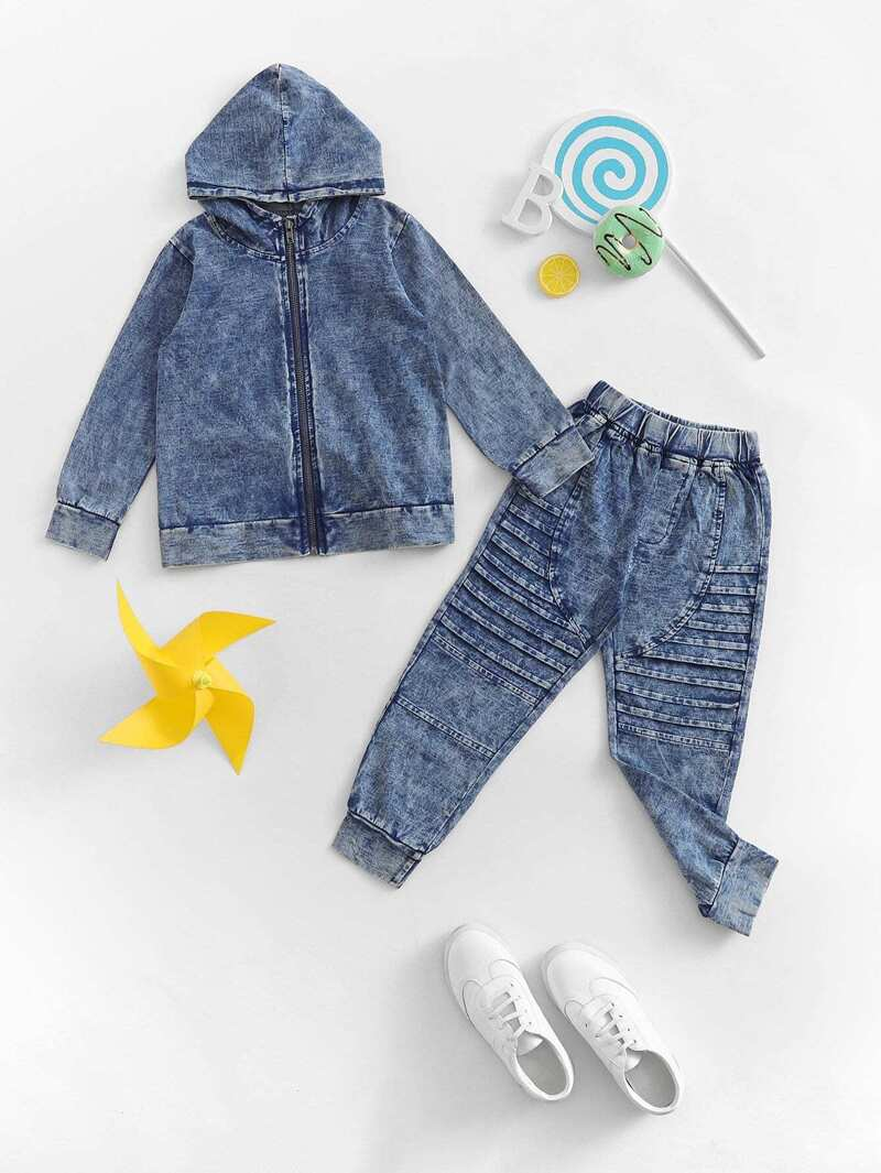 d433c9454bf Toddler Boys Hooded Denim Jacket With Jeans   ROMWE