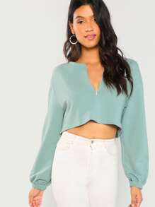 Zip Up Front Crop Sweatshirt
