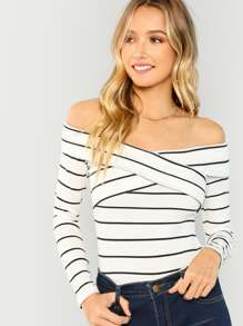 Crisscross Striped Bardot Tee