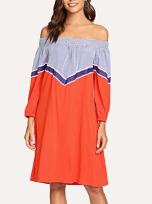 Striped Off The Shoulder Colorblock Dress