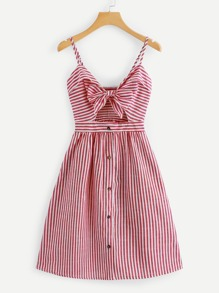 Cut Out Knot Front Striped Dress