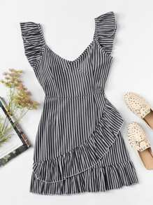 Striped Ruffle Trim Dress