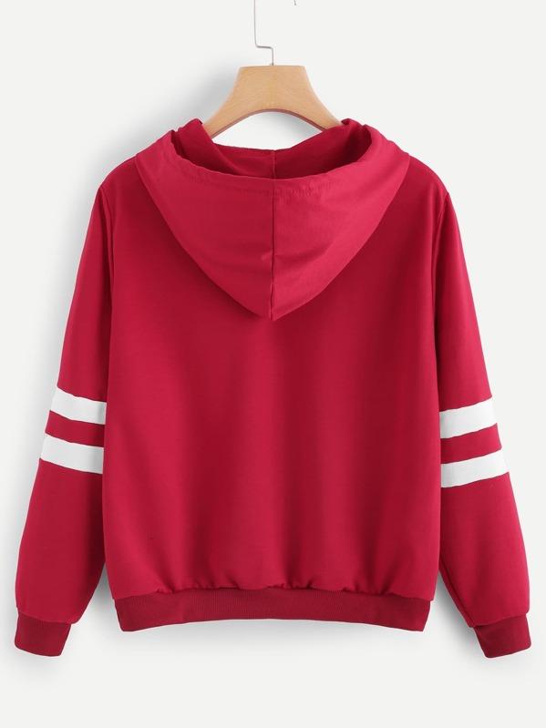 b71ee574cf3cb Cheap Rose Patched Stripe Sleeve Drawstring Hoodie Sweatshirt for sale  Australia   SHEIN