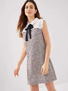 Contrast Yoke Frill Trim Tweed Dress