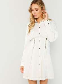 Zip Fitted Waist Jacket Dress