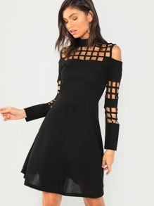 Cold Shoulder Cage Panel Flare Dress