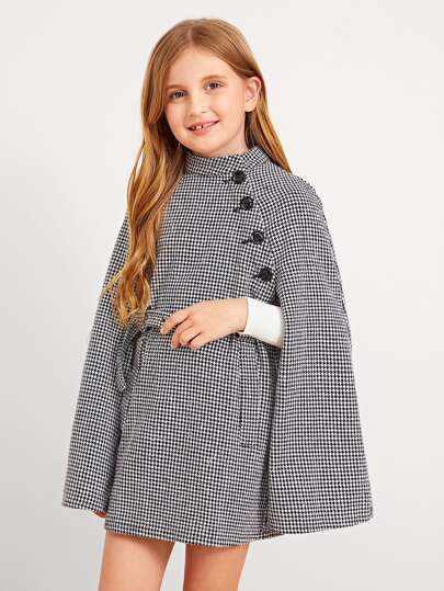 Girls Cape Sleeve Houndstooth Coat With Belt