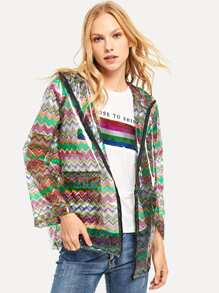 Zip Up Hoodie Colorful Chevron Print Rain Coat