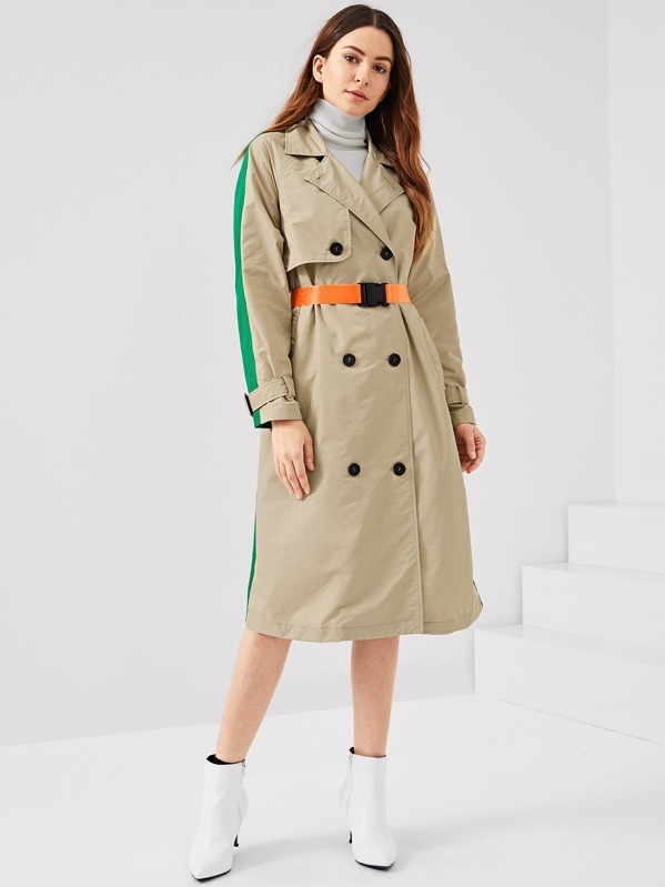 93619562fa5c Colorblock Double Breasted Trench Coat | SHEIN