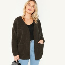 Plus Pocket Front Fluffy Coat