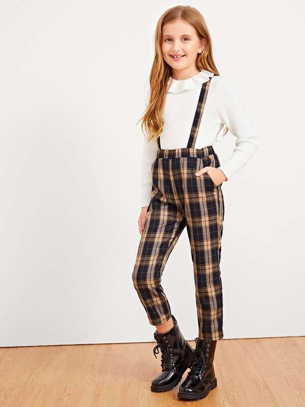 879a7107e0 Girls Plaid Print Pinafore Pants | SHEIN