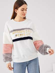 Color Block Faux Fur Panel Sweatshirt