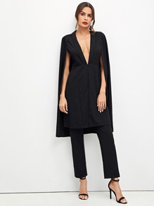 Plunging Neck Cloak Sleeve Longline Top and Pants Set