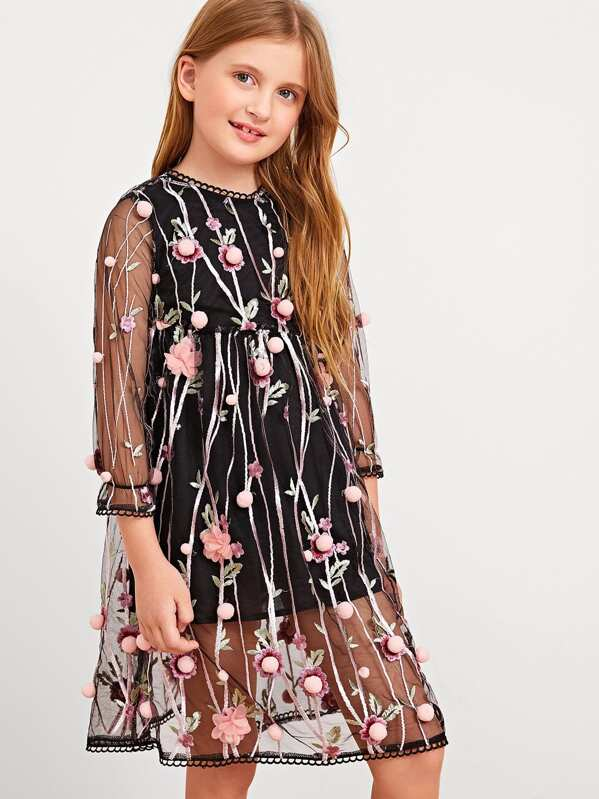1773e9ae20eb Girls Floral Embroidered Mesh Overlay Pom Pom Dress. AddThis Sharing Buttons