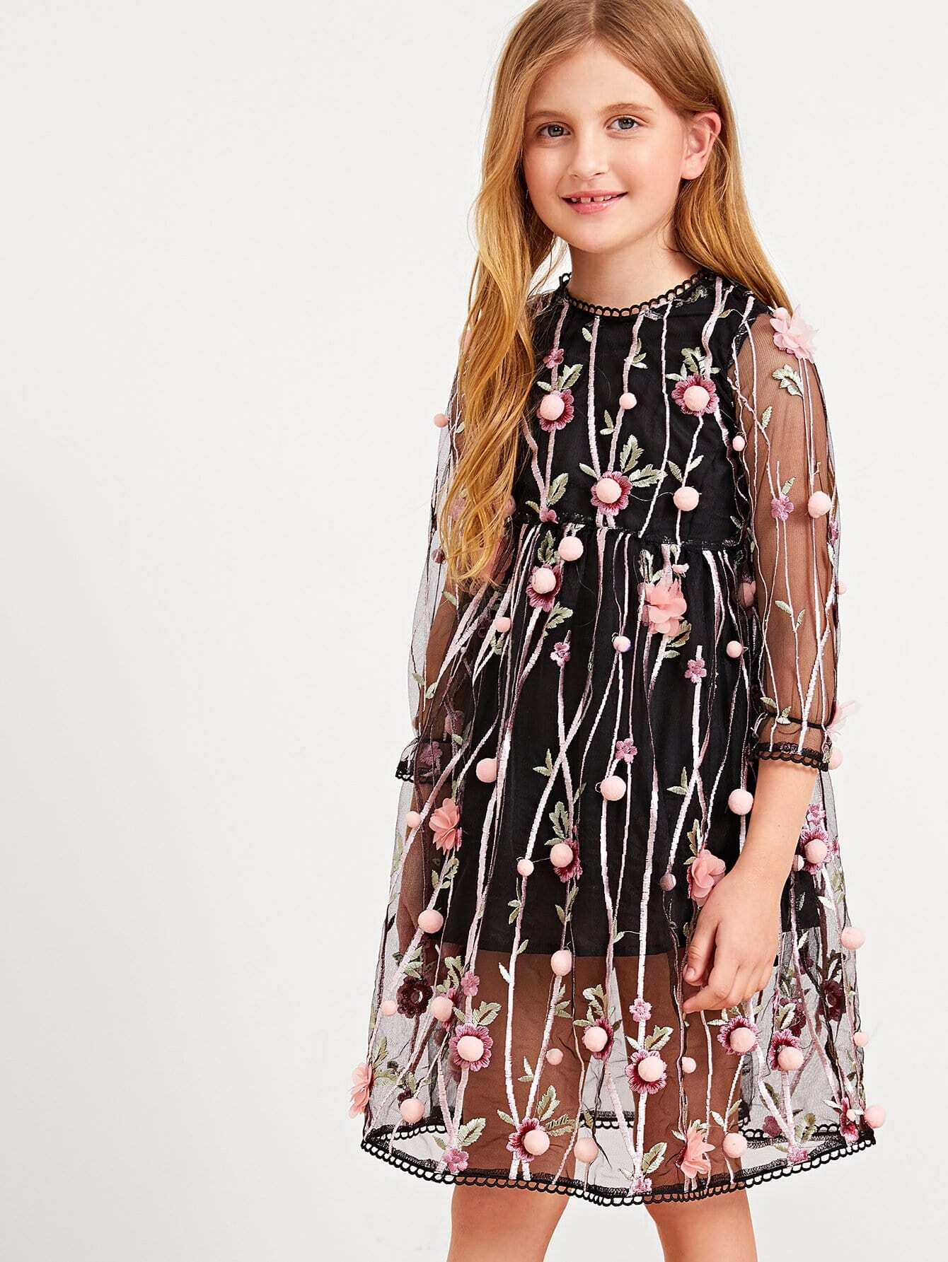 767d0175a0c2 Cheap Girls Floral Embroidered Mesh Overlay Pom Pom Dress for sale  Australia   SHEIN
