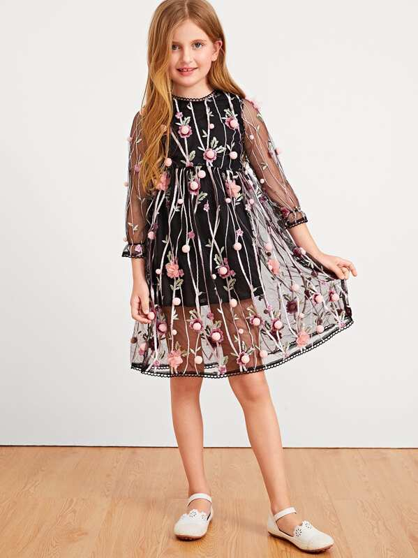 4a283cb0d2 Cheap Girls Floral Embroidered Mesh Overlay Pom Pom Dress for sale ...