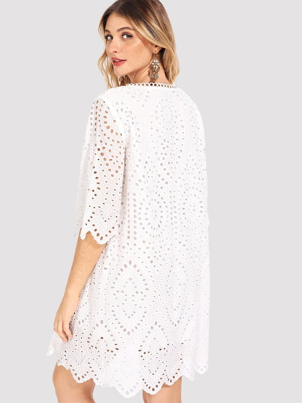 0b8324530c Eyelet Embroidered Tunic Dress | SHEIN