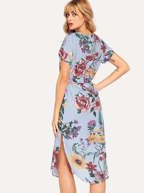 39c20d0f48 Vestido estilo blusa bajo curvo de rayas block