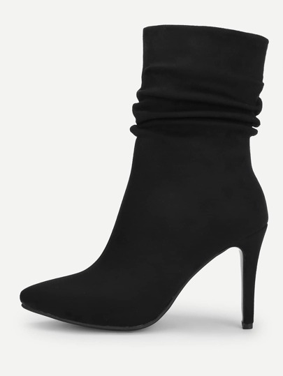 97d21e8a74 Point Toe Ruched Stiletto Ankle Boots