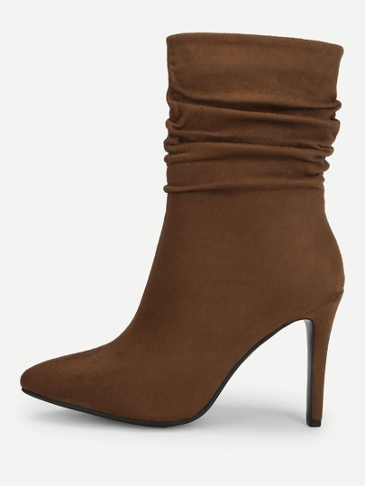 3f17a4071 Point Toe Ruched Stiletto Boots
