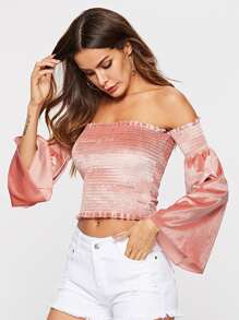 Off Shoulder Frill Detail Solid Top