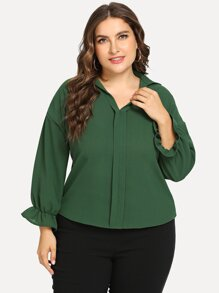Plus Ruffle Detail Solid Blouse