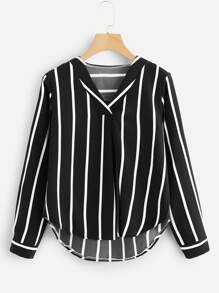 V Neck Striped Asymmetrical Top